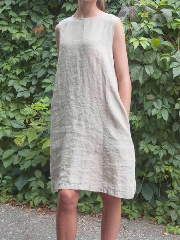 Sleeveless Round Neck Casual Cotton Dress