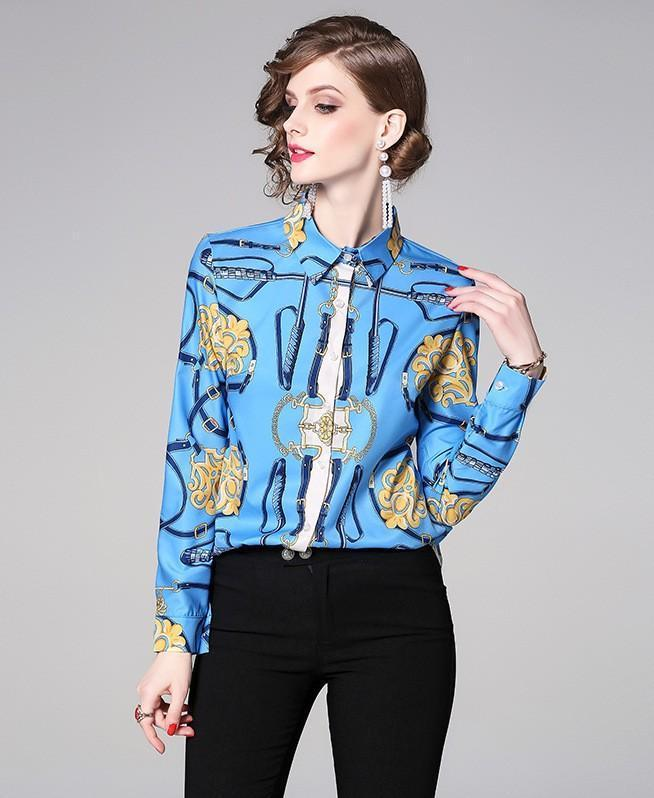 Fashion Retro Print Slim Shirt