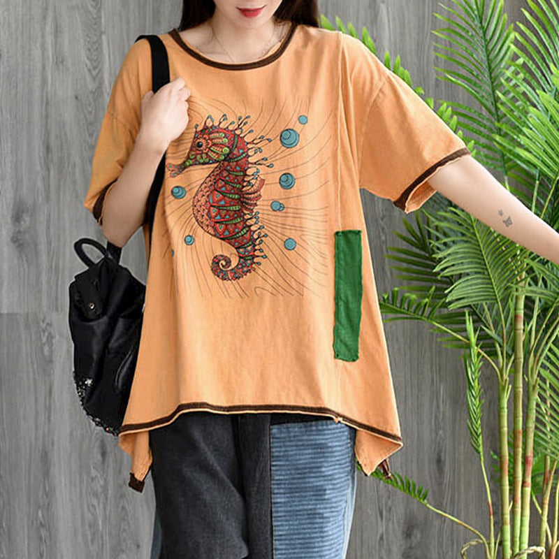 Sprint Loose Cotton Short Sleeves Round Neck T-shirt