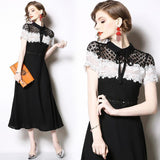 Fashion Lace Stitching Formal Midi Dress
