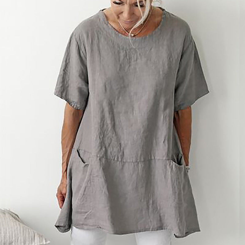 Round Neck Short Sleeves Summer Shirt