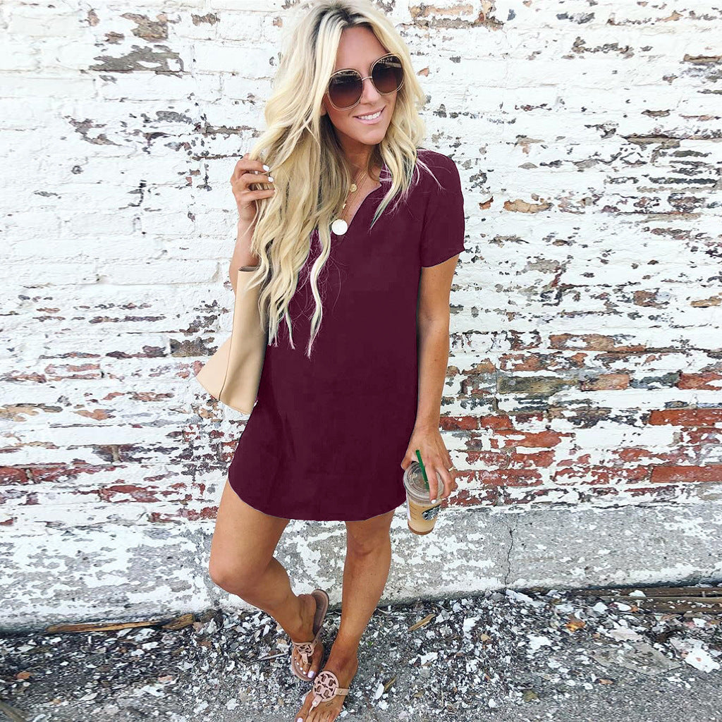 V-neck Casual Stand Collar Short-Sleeved Mini Dress