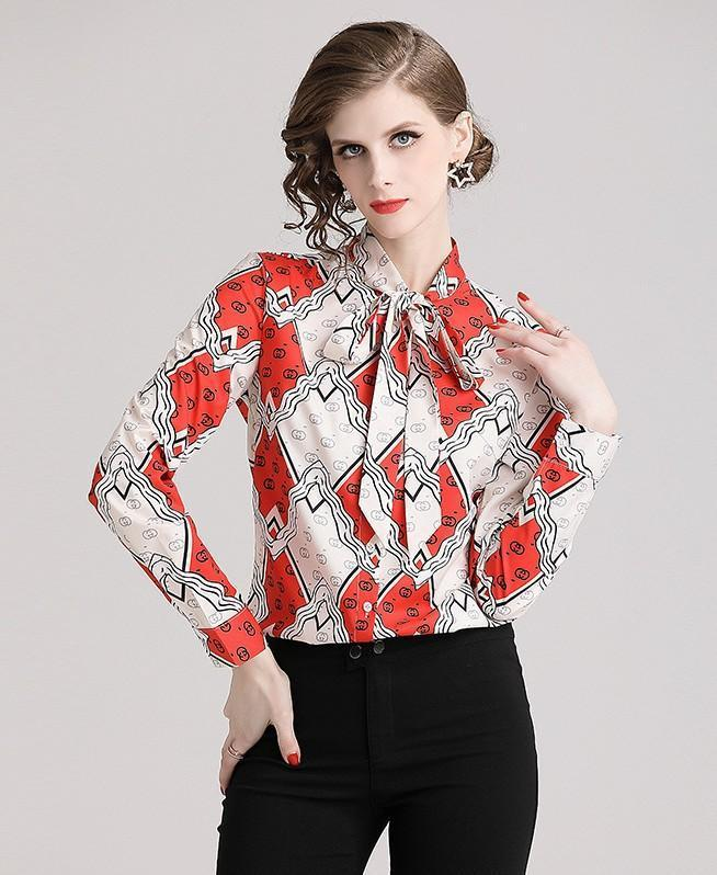 Floral Print Red LOng Sleeve Blouse