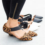 Flat Elastic Bandage Pointed Leopard Print Shoes