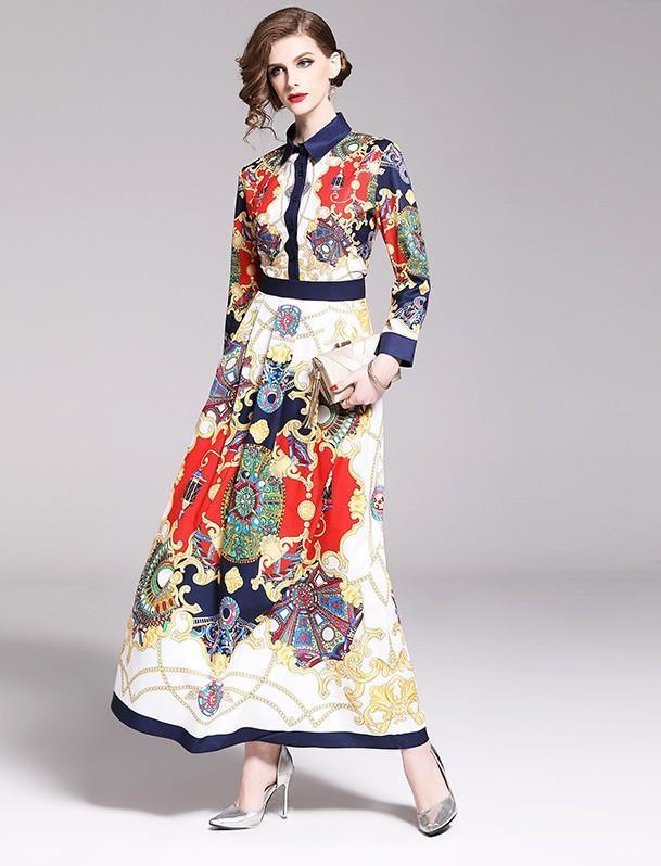 Fashion Lapel Long Sleeve Print Slim Royal Court Dress