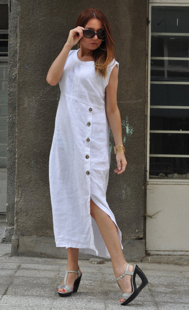 Solid Color White Cotton Linen Maxi Dress