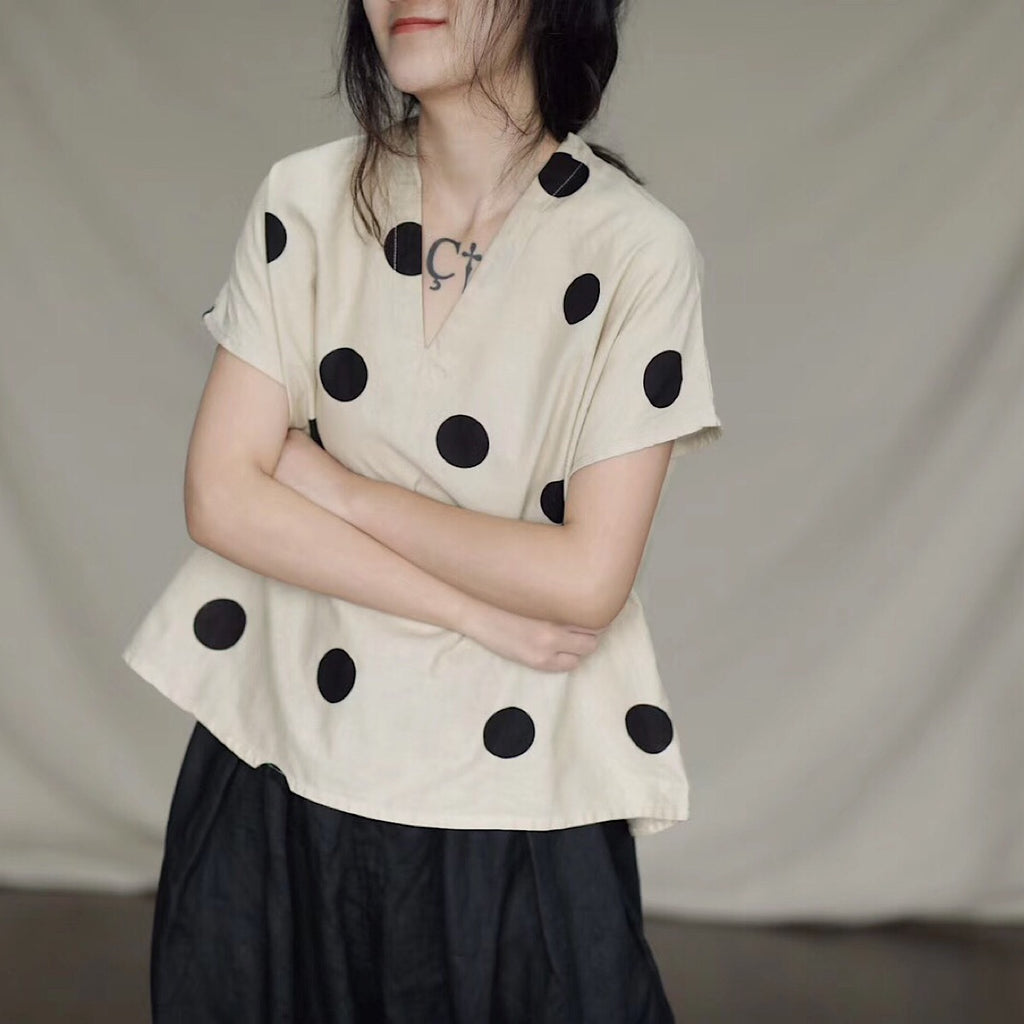 Summer Polka Dot V Neck Summer Shirt