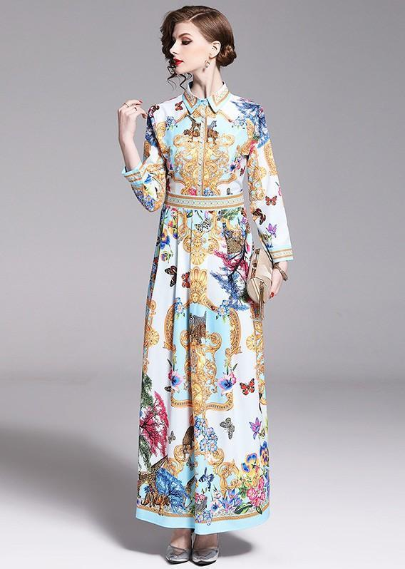 Fashion Printed Lapels Long Sleeves Versatile Dress