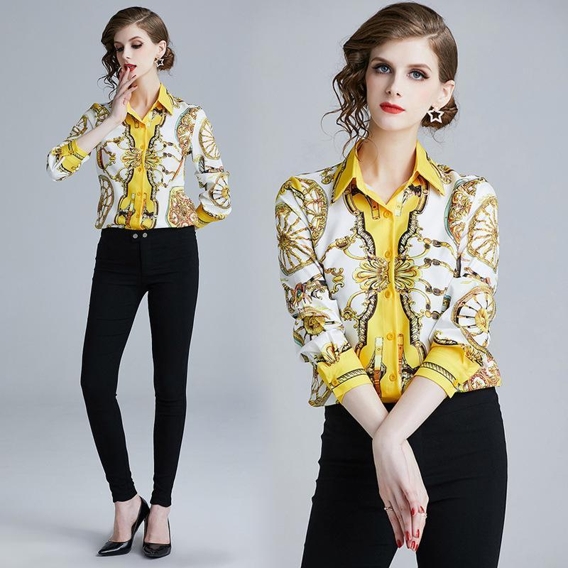 Vintage Style Print Long Sleeves Women Shirt