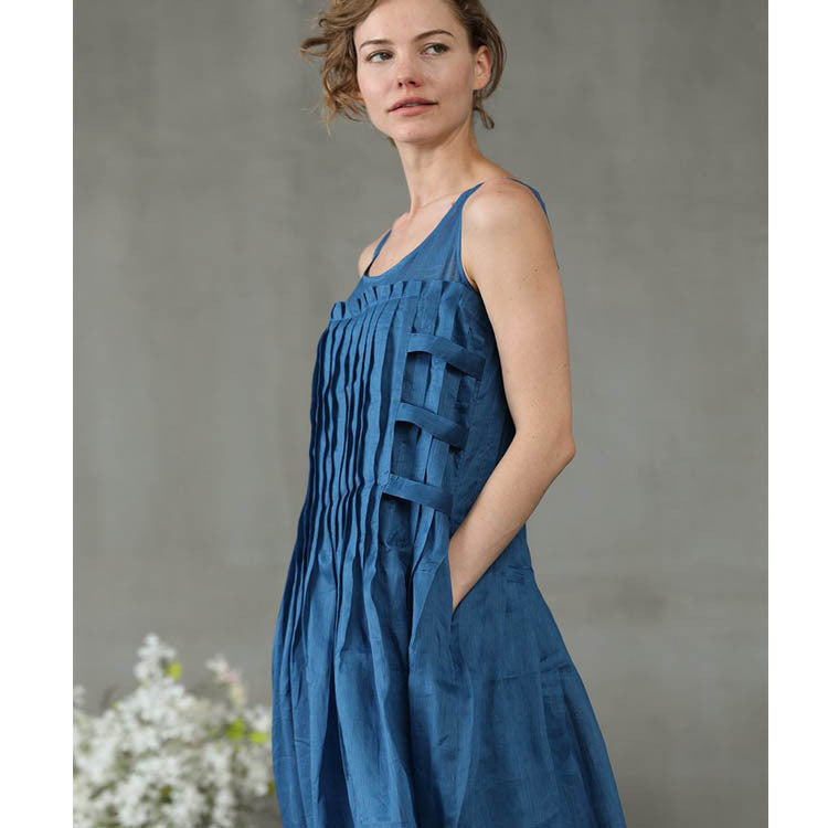 Pleated Casual Cotton Linen Blue Maxi Dress