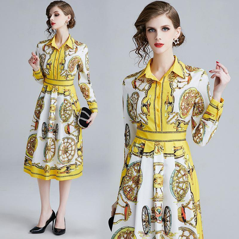 Fashion Print A-line Long-sleeved Mid-length Dress