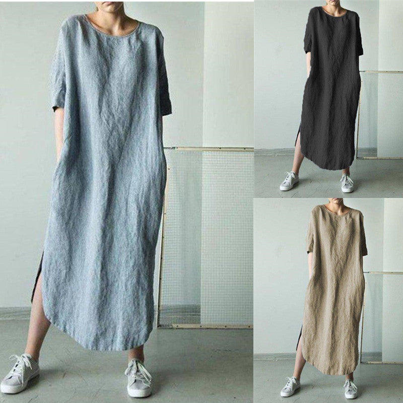 Long Sleeve Round Neck Cotton Linen Dress