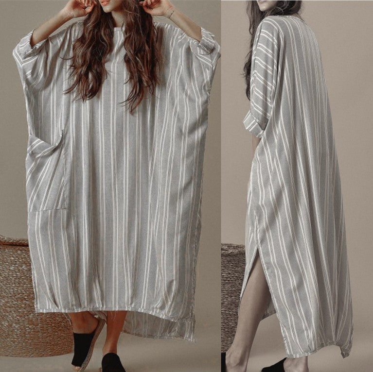 Irregular Loose Striped Casual Maxi Dress