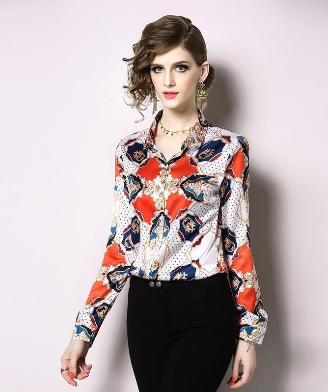Fashion Royal Court Print Blouses