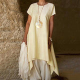 Solid Color Round Neck Short-sleeved Ruffled Long Dress