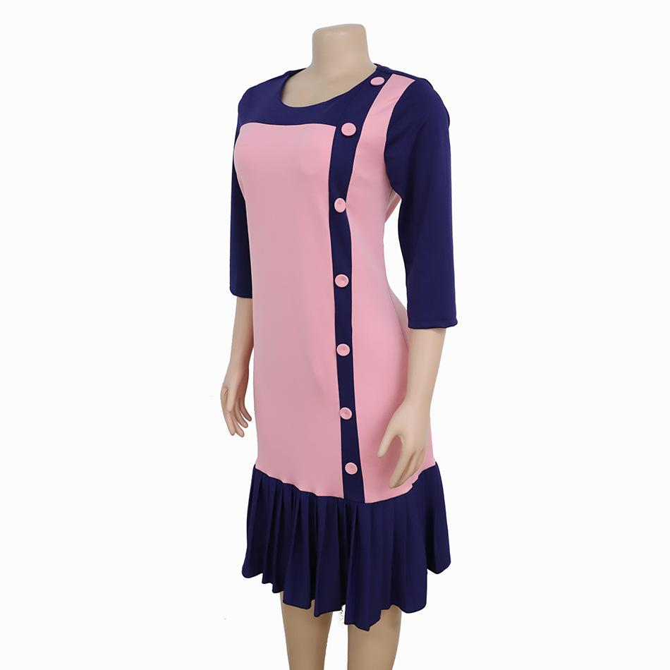 Seven-quarter Sleeve Pleated Button Color Matching Dress L-3XL