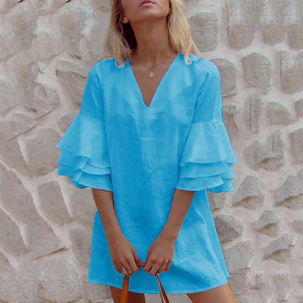 Sexy V Neck Ruffles Large Hem Mini Dress