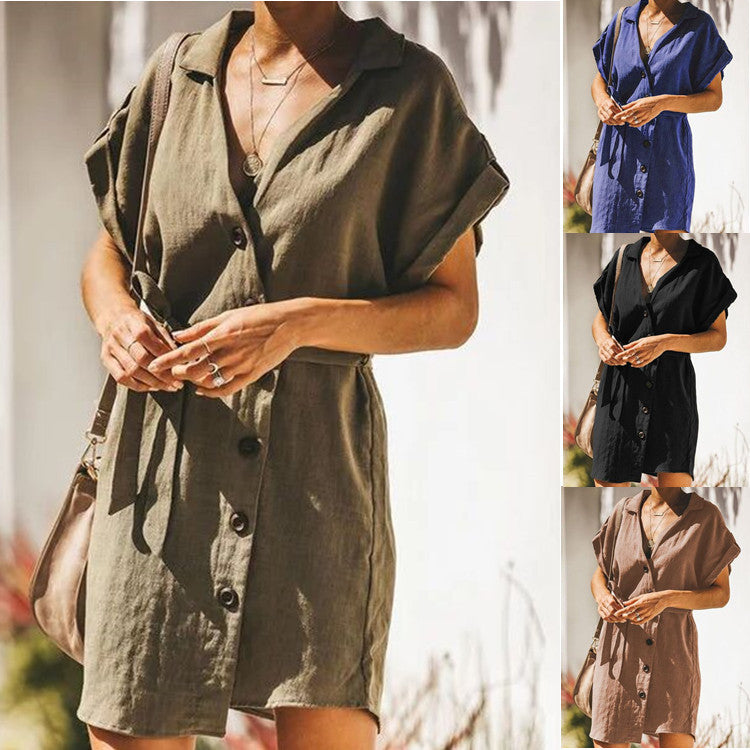 Solid Short Sleeve Button Plus Size Vacation Mini Dress