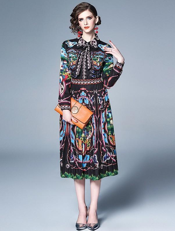 Retro Long Sleeve Printed Fashion Slim Pleated Dress