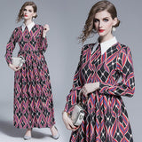 Retro Geometric Print Lapel Long Sleeve Fashion Slim Dress