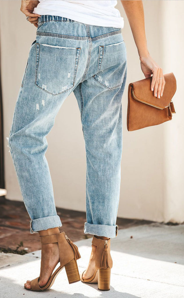 Casual Street Hipster Cotton Straight Pants Women's Jeans