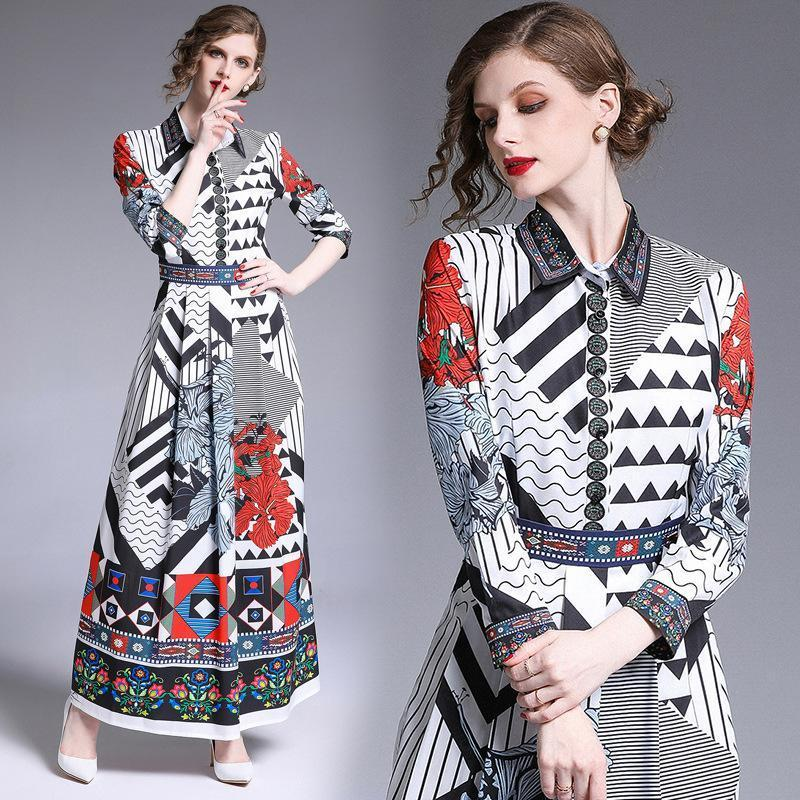 Retro Print Long Sleeves Slim Elegant Dress