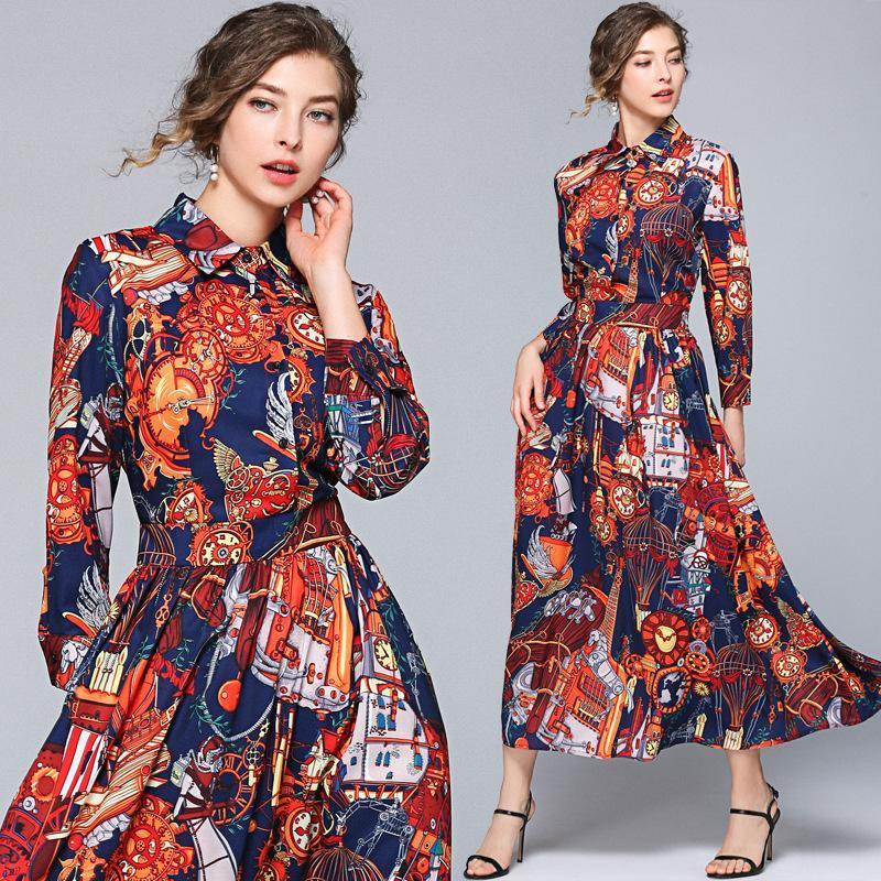Retro Court Print Long Sleeve Slim Fashion Dress