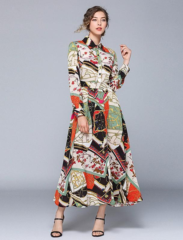 Retro Fashion Print Long Sleeve Slim Dress