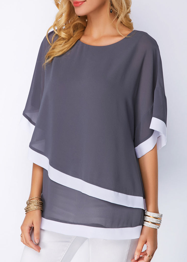 Bat Sleeves Stitching Irregular Chiffon Shirt Top