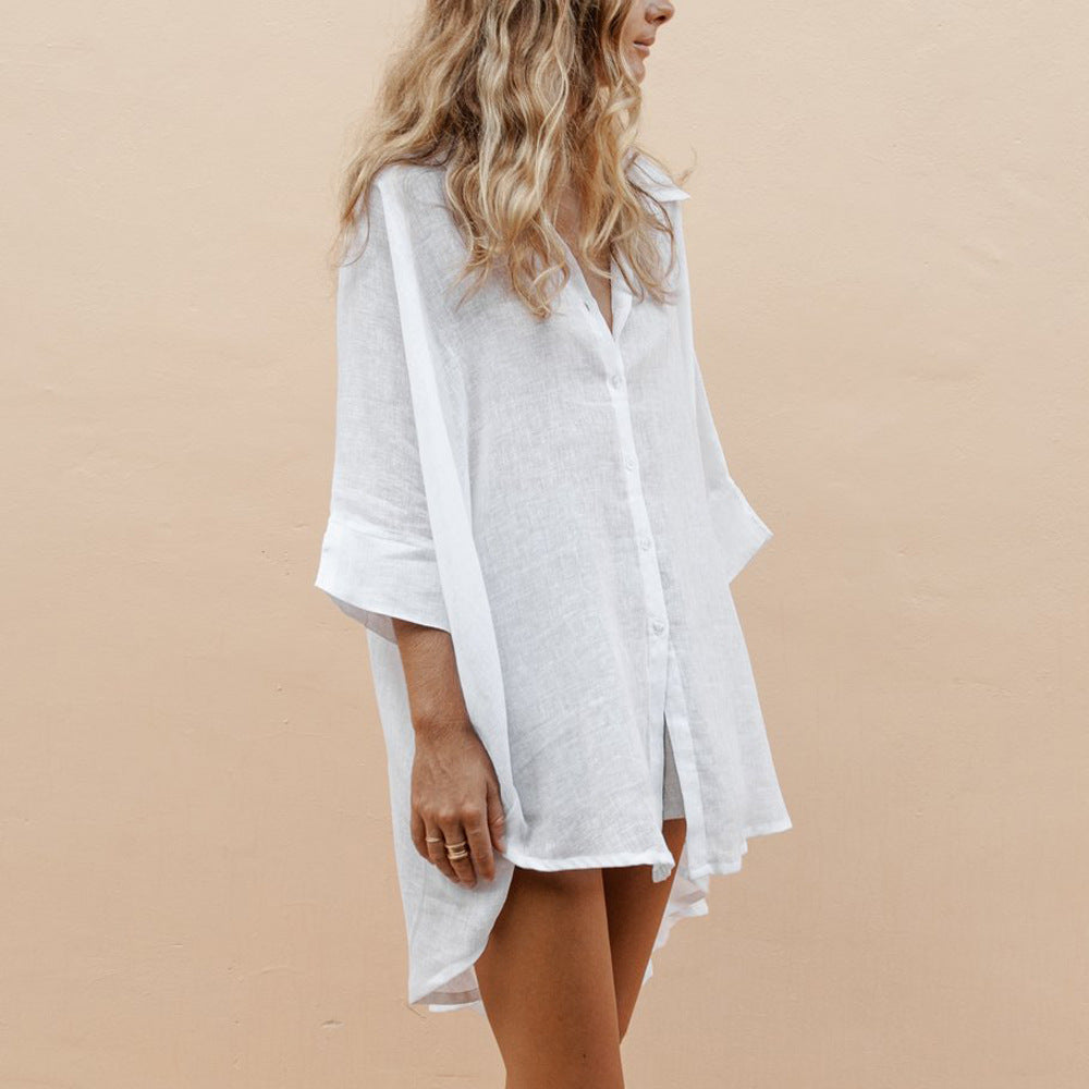 High Low Cotton Linen V-neck shirt