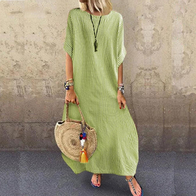 Striped Crew Neck Casual Half Sleeve Dress