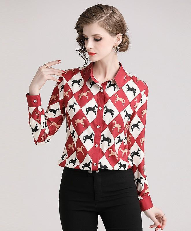 Red Long Sleeve Print Blouse Shirt