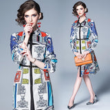 Retro Printed Lapel Long Sleeve Fashion Shirt Dress