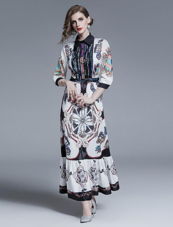 Fashion Print Lapels Cropped Sleeves Slim Dress