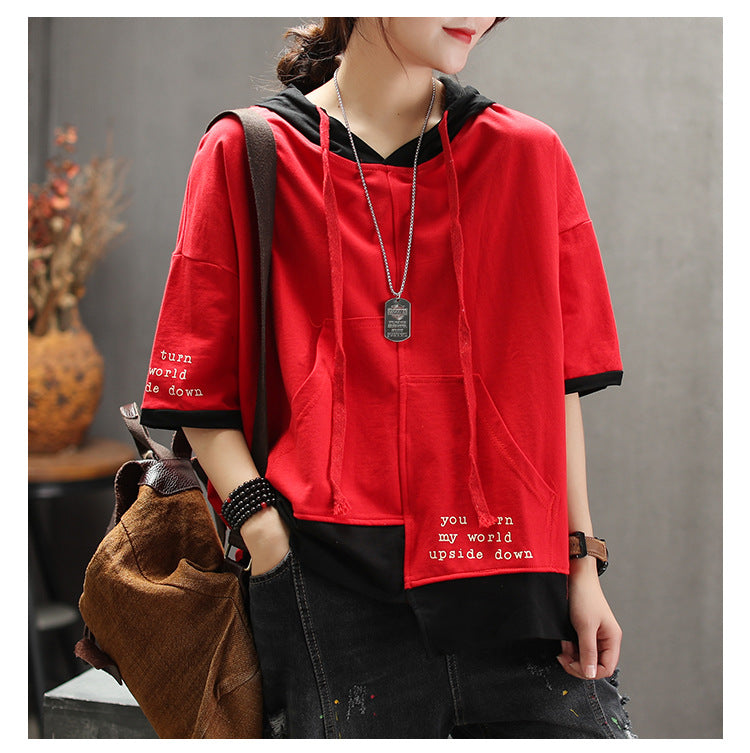 Hooded Summer Cotton Color Matching Spliced T-shirt