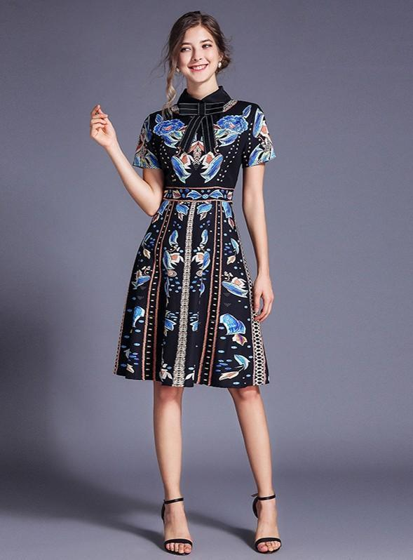 Fashion Printed Lapels Short Sleeve Slim Dress