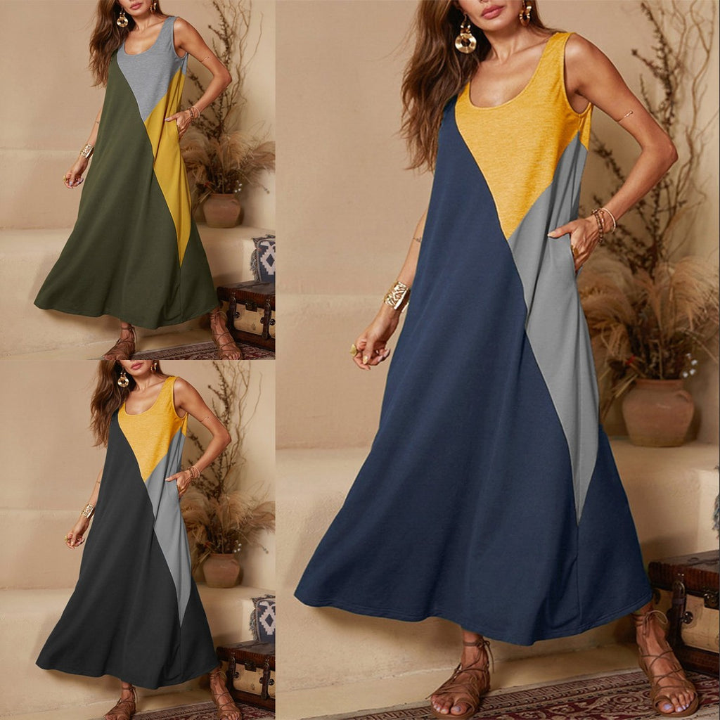 Solid Color Vest Sleeveless Stitching Dress