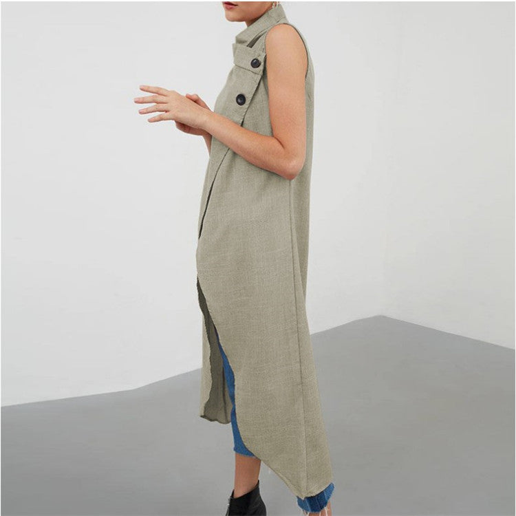 Asymmetrical Sleeveless Loose Slit Long Shirt
