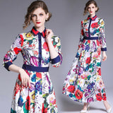 Fashion Long Sleeves Print Slim Maxi Dress