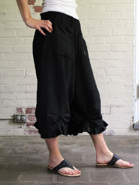 Solid Casual Loose High Waist Wide Leg Pants For Women
