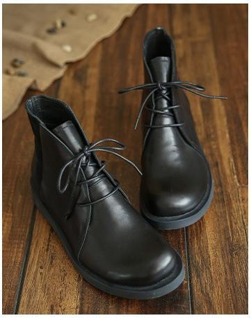 Cowhide handmade lace-up Martin boots_black