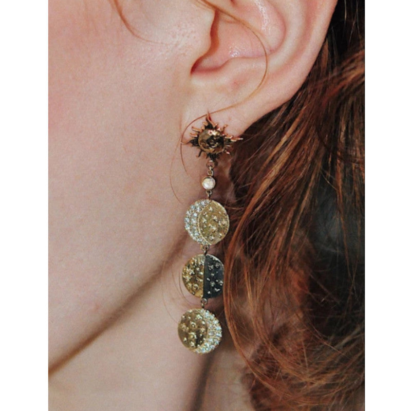 Sun And Moon Diamonds Crescent earrings