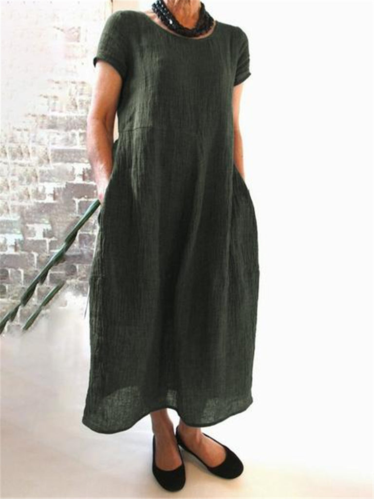 Loose Solid Color Large Size Cotton and Linen Dress