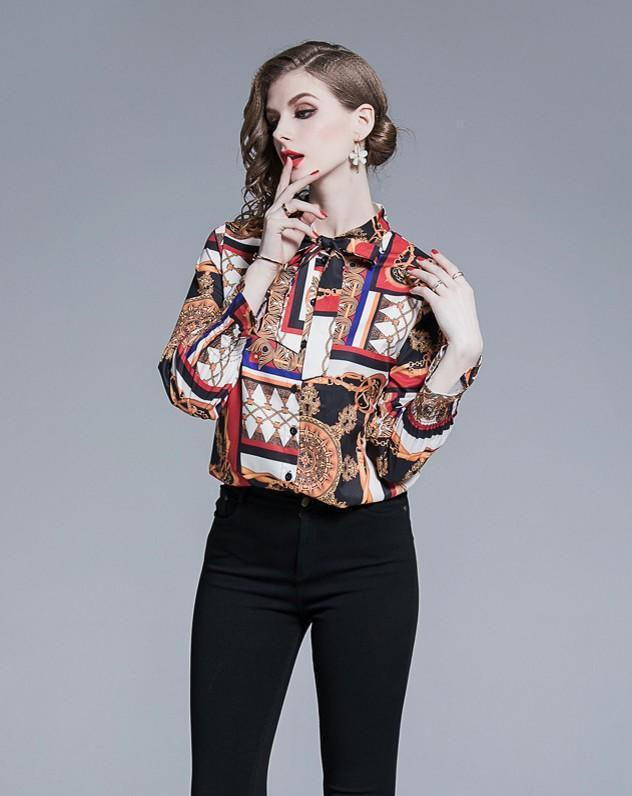 Fashion Retro Print Blouses