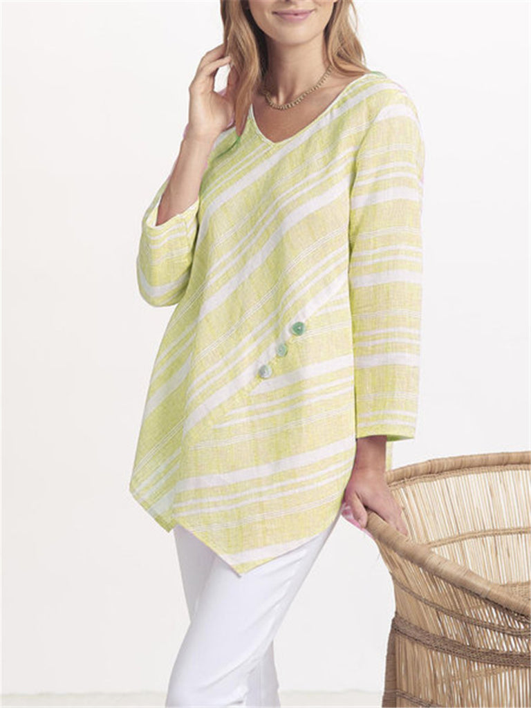 New Irregular Stripe Print Loose Long Sleeve Top Shirt