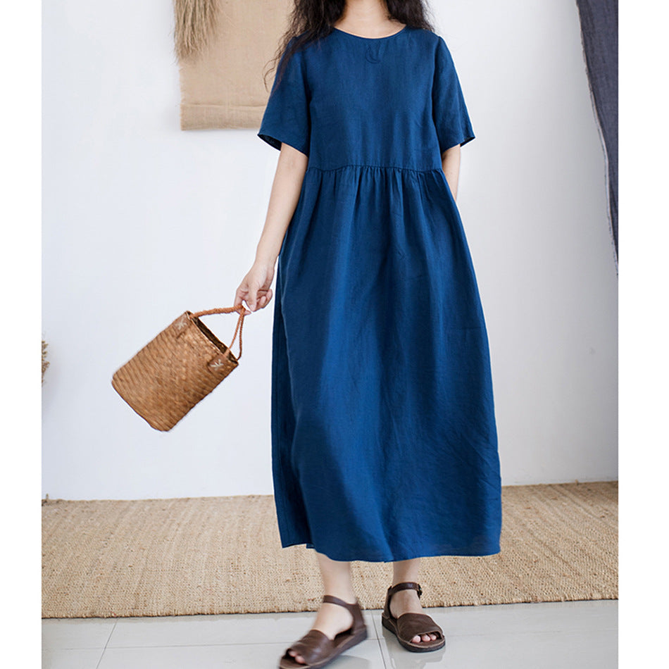 Casual Round Neck Embroidery Maxi Dress