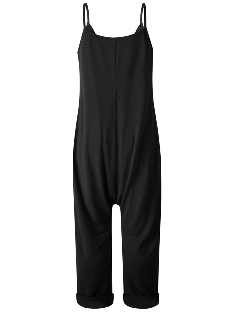 Sexy Open Back Loose Casual Overall Jumpsuits