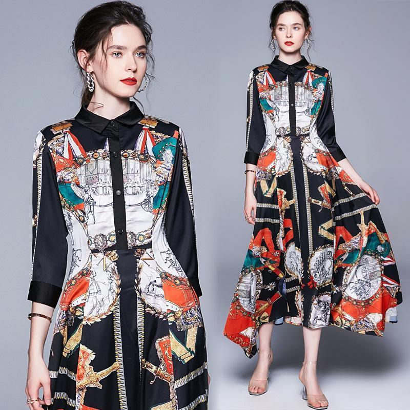 Retro Fashion Print Slim Irregular Dress