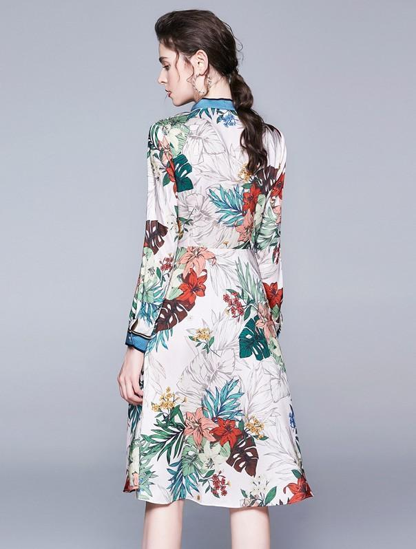 Long-sleeved Print Slim Mid-length A-line Dress