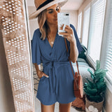 Sexy V Neck Solid Color Jumpsuits Rompers